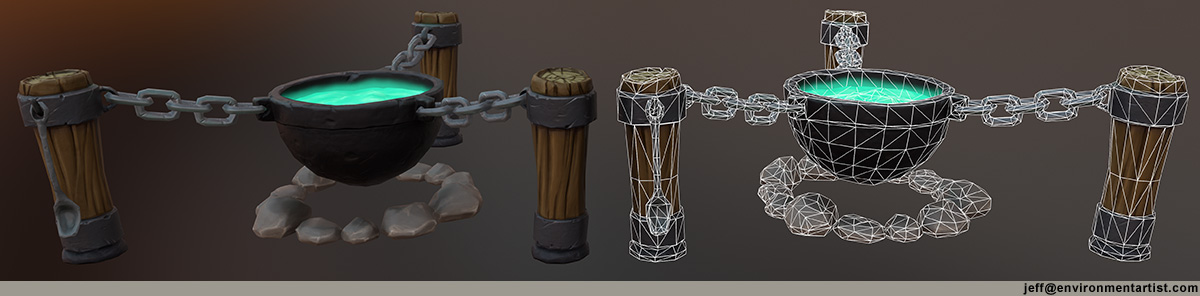 cauldron sculpted prop